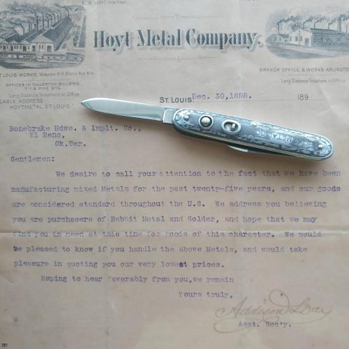 George Schrade Cut Co. advertising Knife, Walden NY ~ 100 years old.