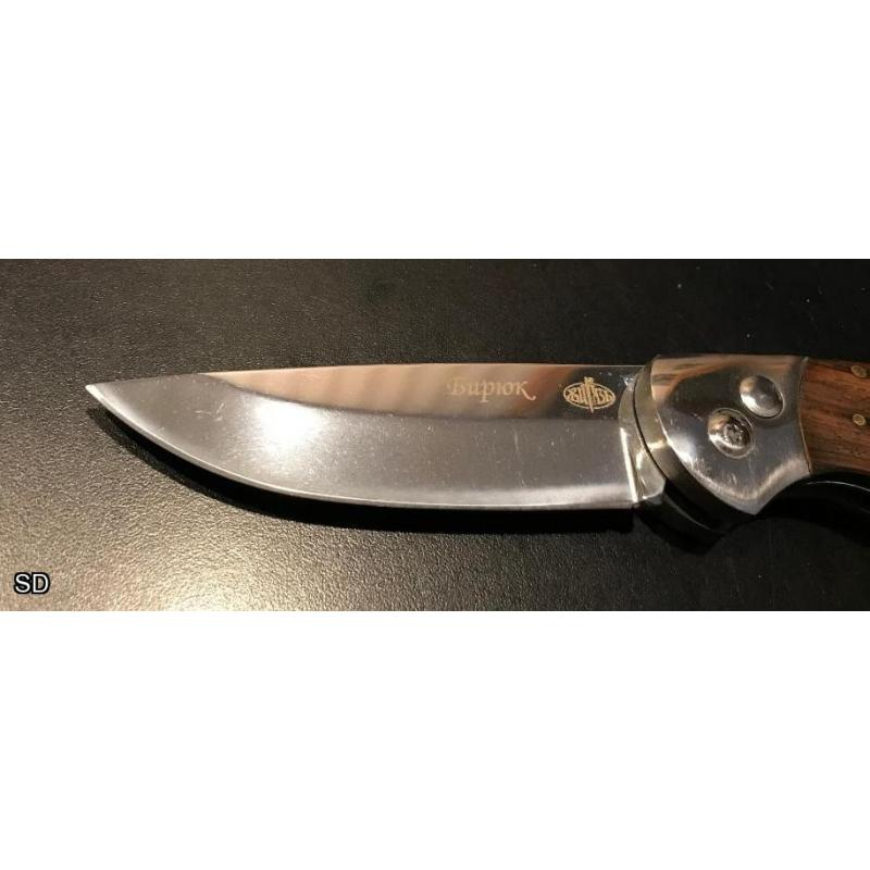 Mint Russian Tactical Auto Knife with Smooth Walnut Scales